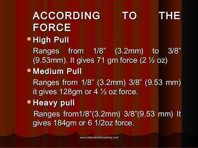 """ACCORDING FORCE High  TO  THE  Pull Ranges from 1/8"""" (3.2mm) to 3/8"""" (9.53mm). It gives 71 gm force (2 ½ oz) Medium Pull..."""