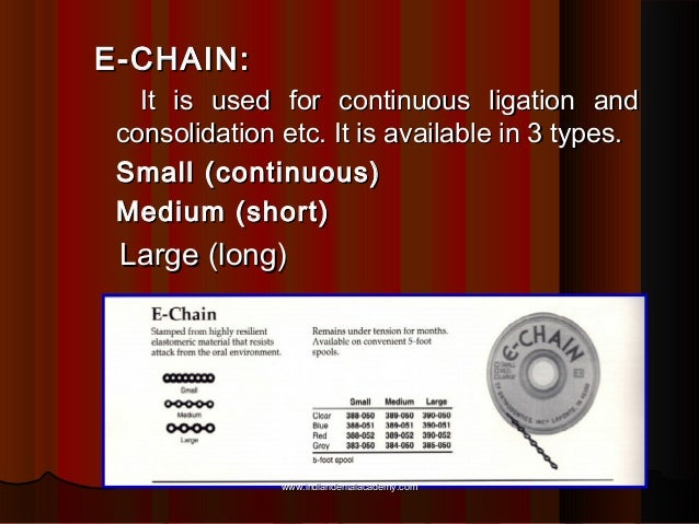 E-CHAIN: It is used for continuous ligation and consolidation etc. It is available in 3 types. Small (continuous) Medium (...