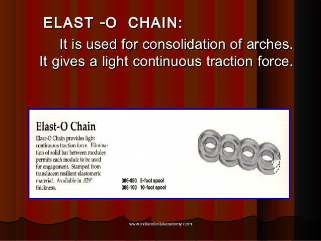 ELAST -O CHAIN: It is used for consolidation of arches. It gives a light continuous traction force.  www.indiandentalacade...