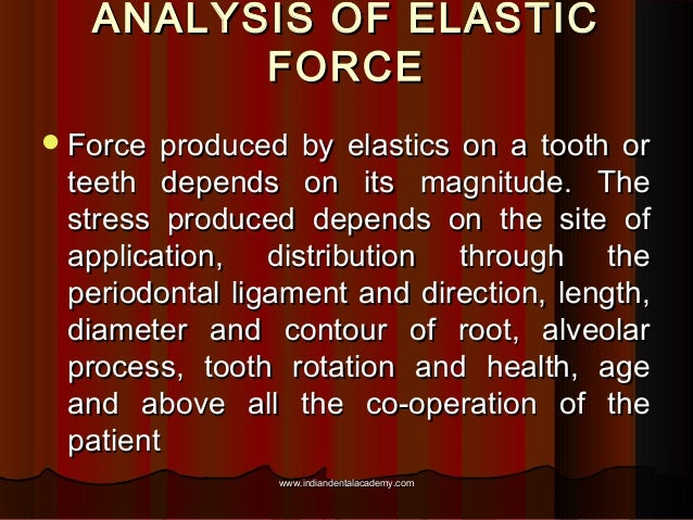 ANALYSIS OF ELASTIC FORCE  Force  produced by elastics on a tooth or teeth depends on its magnitude. The stress produced ...