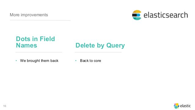16 More improvements Dots in Field Names • We brought them back Delete by Query • Back to core