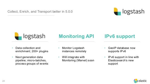 24 Collect, Enrich, and Transport better in 5.0.0 • Monitor Logstash instances remotely • Will integrate with Monitoring (...