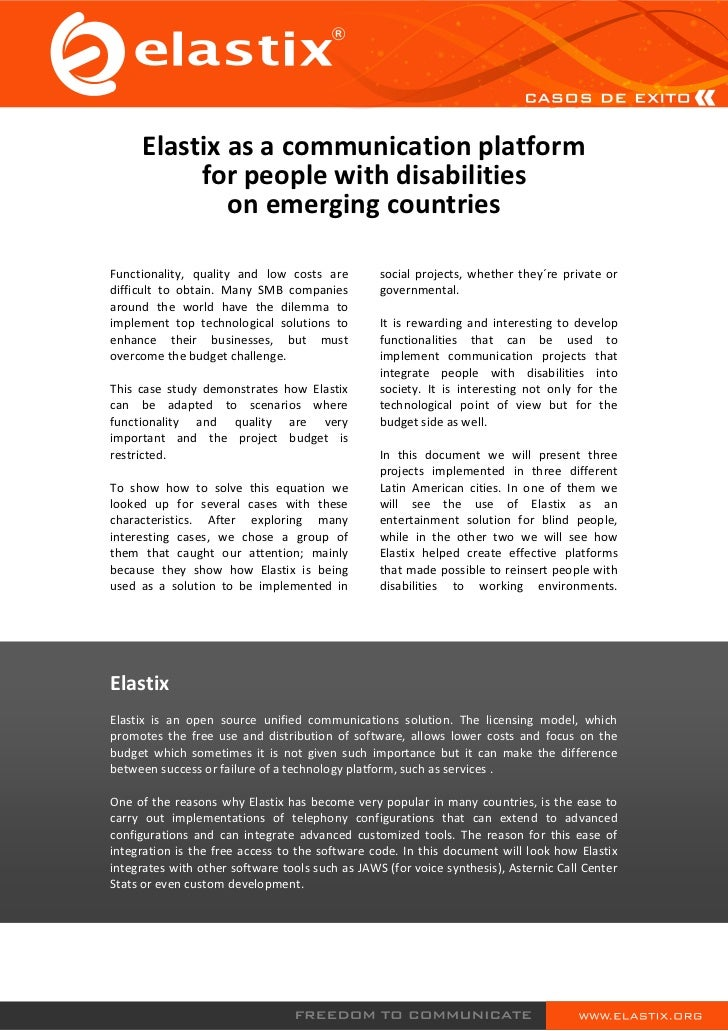 Elastix as a communication platform          for people with disabilities             on emerging countriesFunctionality, ...