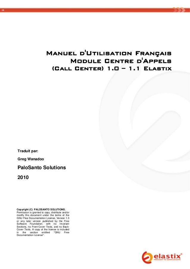 Manuel dUtilisation Français                                  Module Centre dAppels  ...