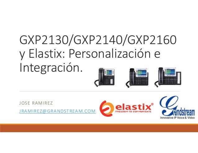 GXP2130/GXP2140/GXP2160 yElastix:Personalizacióne Integración. JOSERAMIREZ JRAMIREZ@GRANDSTREAM.COM