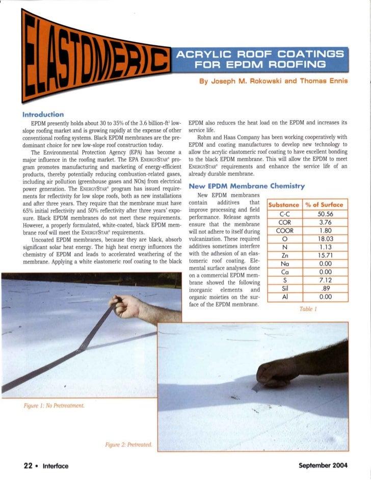 Elastomeric Coatings for EPDM Roofing