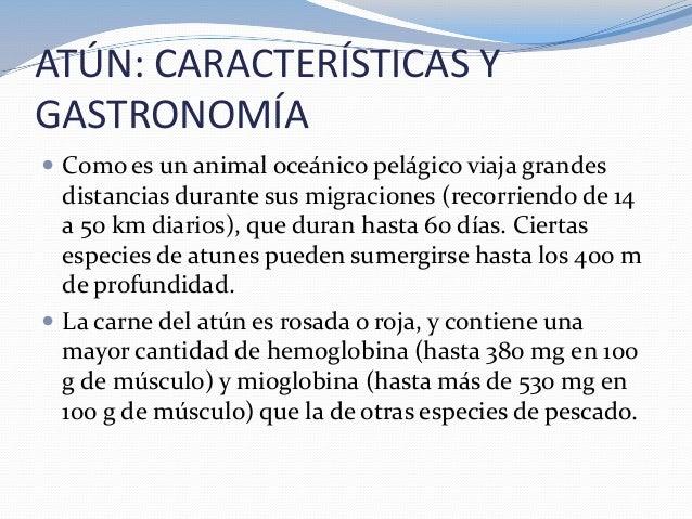 ATÚN: CARACTERÍSTICAS YGASTRONOMÍA Como es un animal oceánico pelágico viaja grandesdistancias durante sus migraciones (r...