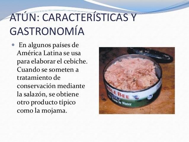 ATÚN: CARACTERÍSTICAS YGASTRONOMÍA En algunos países deAmérica Latina se usapara elaborar el cebiche.Cuando se someten at...