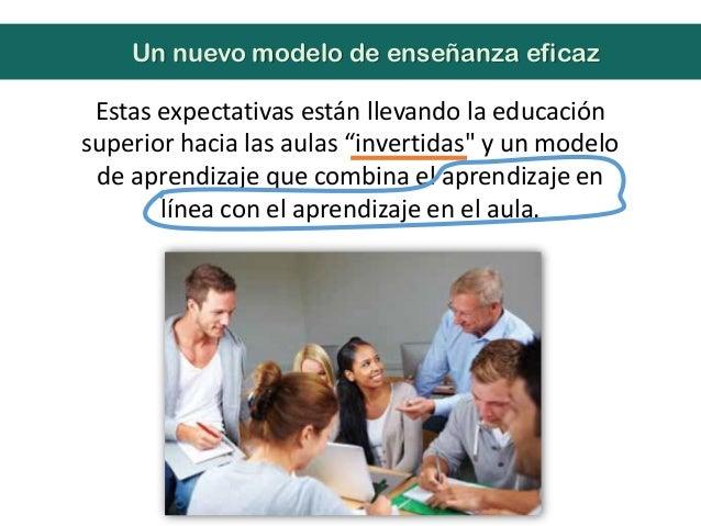 """Estas expectativas están llevando la educaciónsuperior hacia las aulas """"invertidas"""" y un modelode aprendizaje que combina ..."""