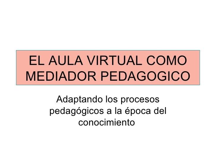 EL AULA VIRTUAL COMO MEDIADOR PEDAGOGICO Adaptando los procesos pedagógicos a la época del conocimiento