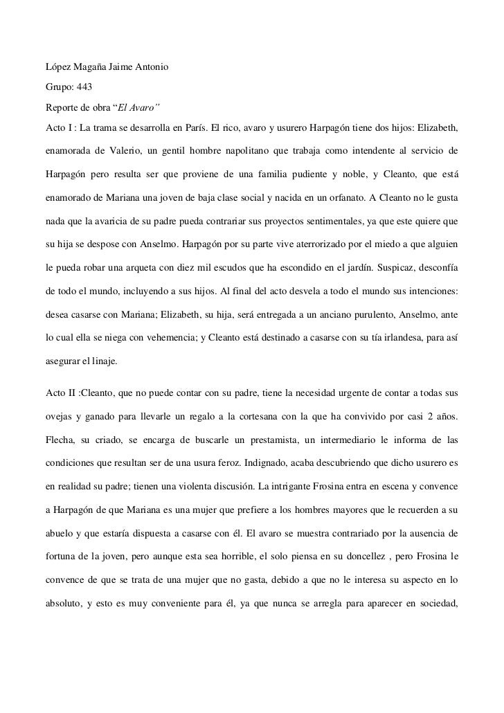 """López Magaña Jaime Antonio<br />Grupo: 443<br />Reporte de obra """"El Avaro""""<br />Acto I : La trama se desarrolla en París. ..."""