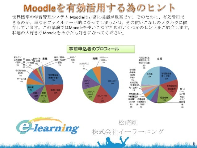 世界標準の学習管理システム Moodleは非常に機能が豊富です。そのために、有効活用で きるのか、単なるファイルサーバ的になってしまうかは、その使いこなしのノウハウに依 存しています。この講演ではMoodleを使いこなすためのいくつかのヒントを...