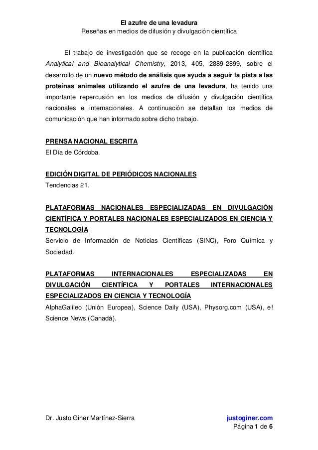 El azufre de una levadura Reseñas en medios de difusión y divulgación científica Dr. Justo Giner Martínez-Sierra justogine...