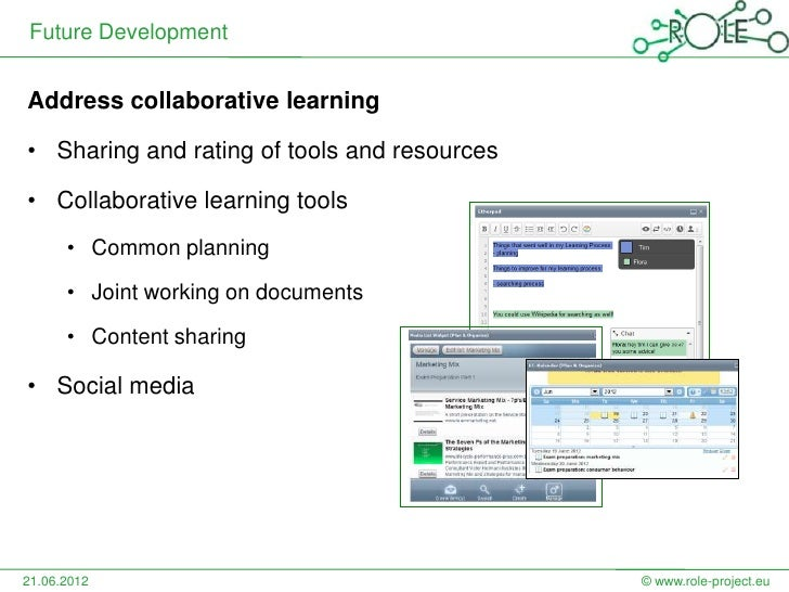 Future DevelopmentAddress collaborative learning• Sharing and rating of tools and resources• Collaborative learning tools ...