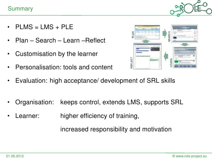 Summary• PLMS = LMS + PLE• Plan – Search – Learn –Reflect• Customisation by the learner• Personalisation: tools and conten...