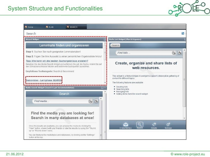 System Structure and Functionalities21.06.2012                             © www.role-project.eu