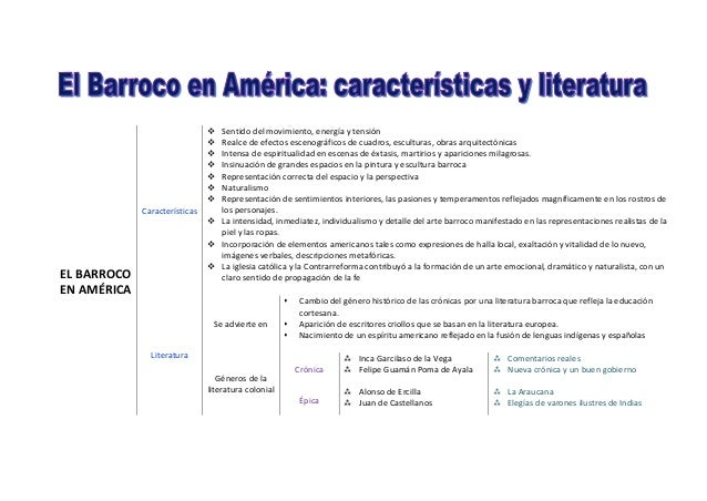 EL BARROCO EN AMÉRICA Características  Sentido del movimiento, energía y tensión  Realce de efectos escenográficos de cu...