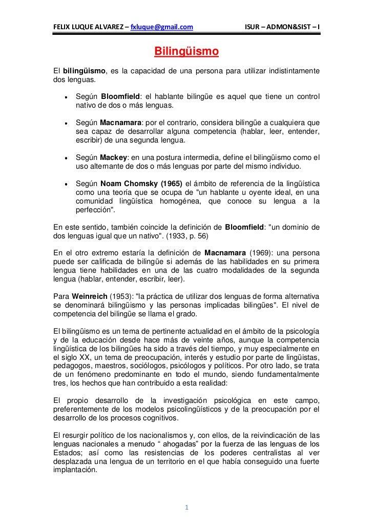 FELIX LUQUE ALVAREZ – fxluque@gmail.com                    ISUR – ADMON&SIST – I                               Bilingüismo...
