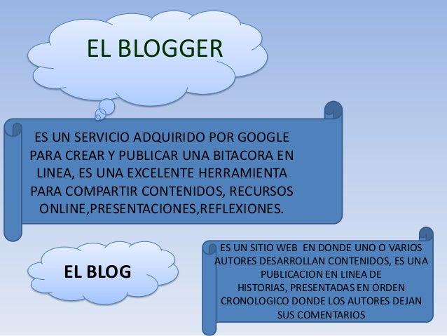 EL BLOGGER ES UN SERVICIO ADQUIRIDO POR GOOGLE PARA CREAR Y PUBLICAR UNA BITACORA EN LINEA, ES UNA EXCELENTE HERRAMIENTA P...