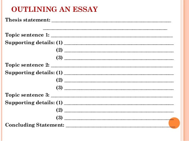 10. OUTLINING AN ESSAY Thesis Statement: