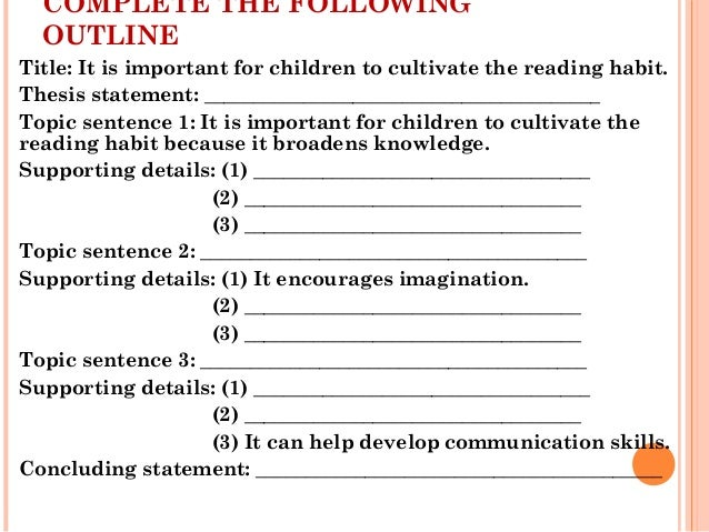 full sentence outline thesis statement An outline of an essay can be very helpful for two reasons: an outline will help  make your  thesis statement, you can begin writing the topic sentences for the  body  the button below to go back to unit b print and complete the worksheet  for.