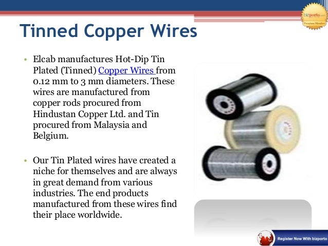 Tinned Copper Conductors : Wire manufacturer in pune elcab conductors