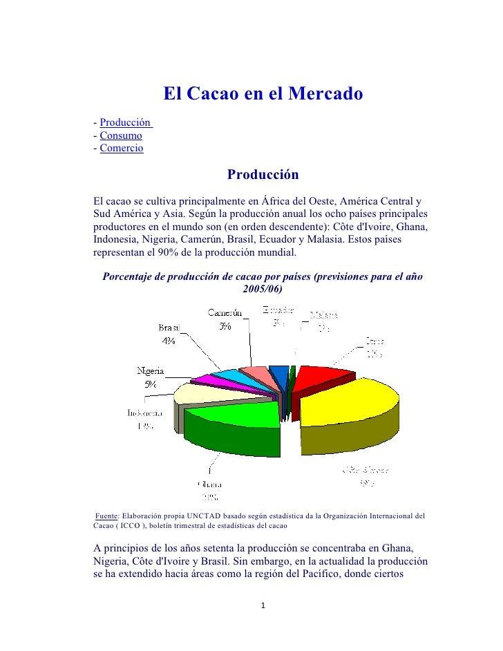 El Cacao en el Mercado - Producción - Consumo - Comercio                                        Producción El cacao se cul...
