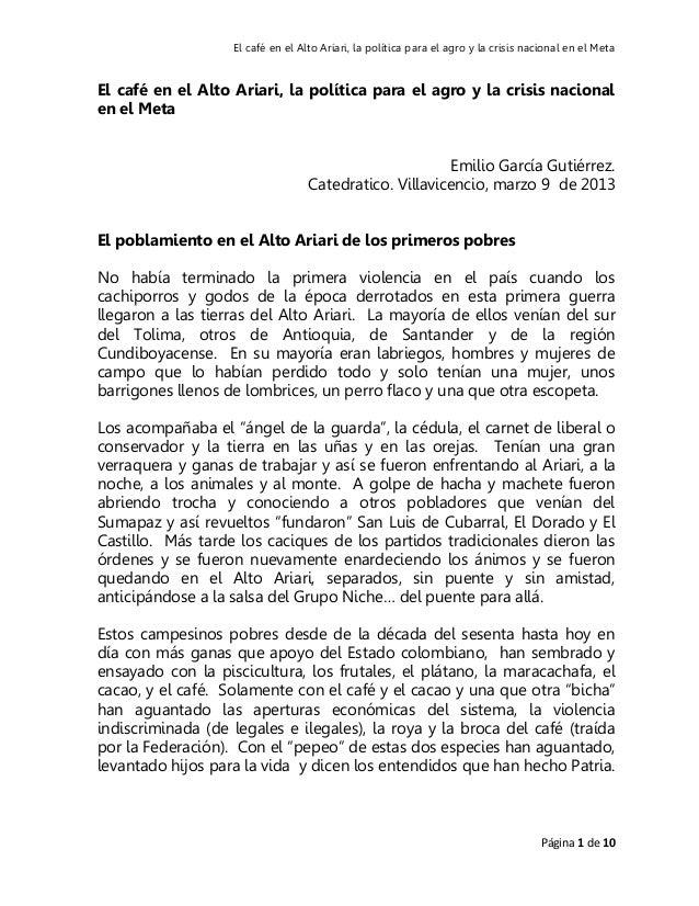 El café en el Alto Ariari, la política para el agro y la crisis nacional en el MetaEl café en el Alto Ariari, la política ...