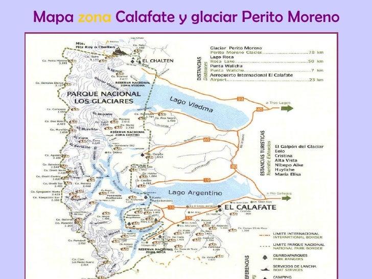 Mapa  zona  Calafate y glaciar Perito Moreno
