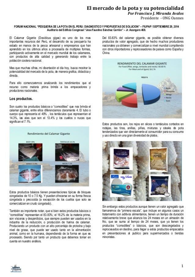 El  mercado  de  la  pota  y  su  potencialidad  Por  Francisco  J.  Miranda  Avalos  Presidente  -‐  ONG  Oannes  FORUM ...