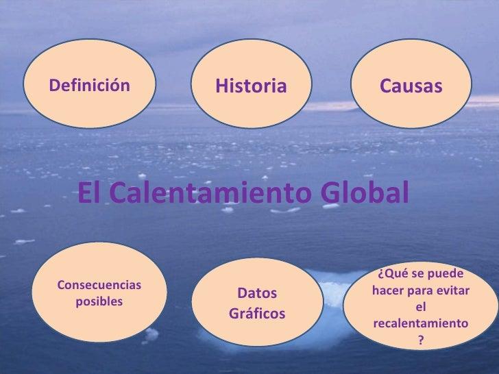 El Calentamiento Global Definición Consecuencias posibles Causas Historia Datos Gráficos ¿Qué se puede hacer para evitar e...