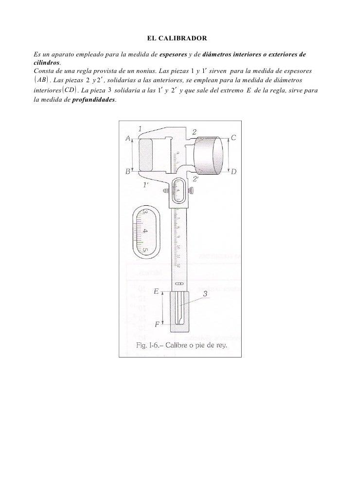 EL CALIBRADOREs un aparato empleado para la medida de espesores y de diámetros interiores o exteriores decilindros.Consta ...