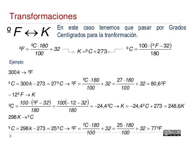 Transformaciones KF º En este caso tenemos que pasar por Grados Centígrados para la tranformación.   180 32º100 º   ...