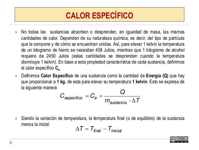 CALOR ESPECÍFICO  No todas las sustancias absorben o desprenden, en igualdad de masa, las mismas cantidades de calor. Dep...