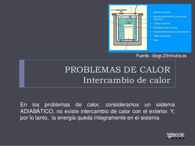 PROBLEMAS DE CALOR Intercambio de calor En los problemas de calor, consideramos un sistema ADIABÁTICO, no existe intercamb...