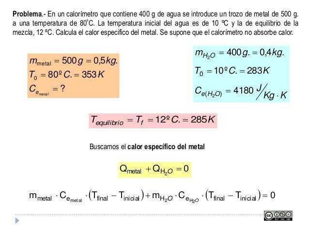 Problema.- En un calorímetro que contiene 400 g de agua se introduce un trozo de metal de 500 g. a una temperatura de 80ºC...