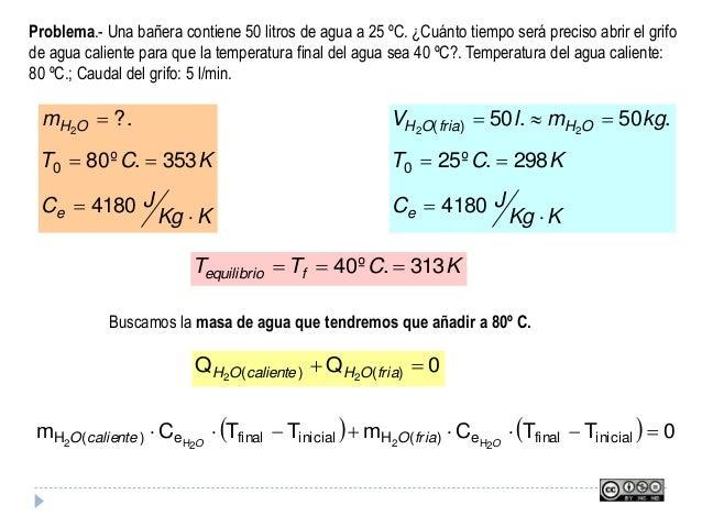 Problema.- Una bañera contiene 50 litros de agua a 25 ºC. ¿Cuánto tiempo será preciso abrir el grifo de agua caliente para...