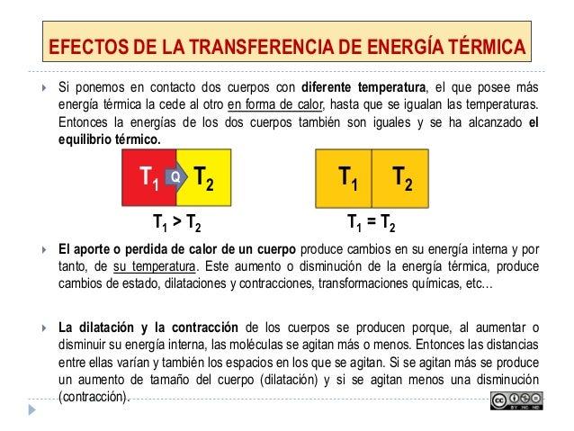 EFECTOS DE LA TRANSFERENCIA DE ENERGÍA TÉRMICA  Si ponemos en contacto dos cuerpos con diferente temperatura, el que pose...