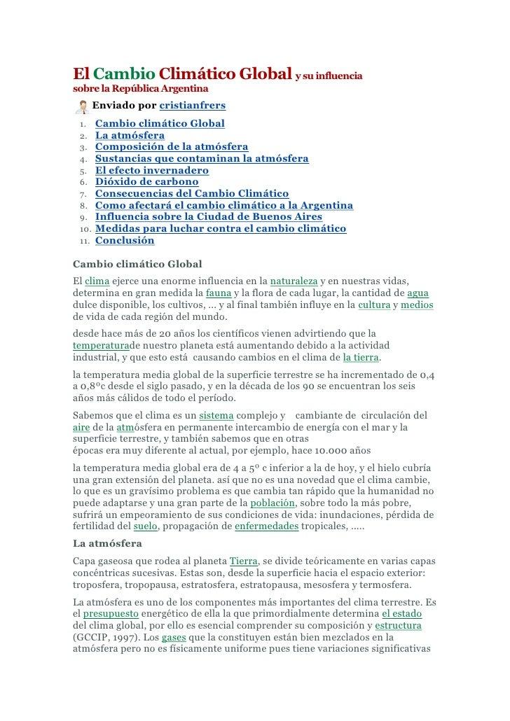 El Cambio Climático Global y su influencia sobre la República Argentina <br />left0Enviado por cristianfrers<br />Cambio c...
