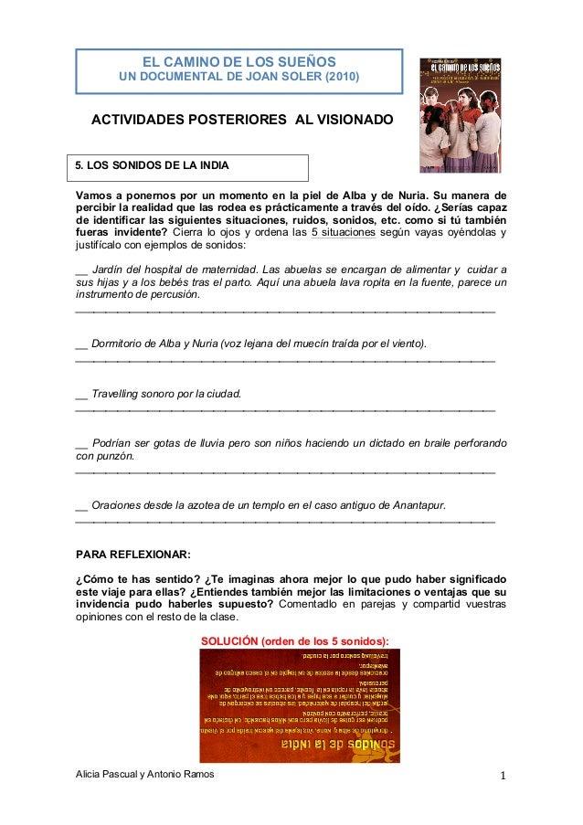 EL CAMINO DE LOS SUEÑOS UN DOCUMENTAL DE JOAN SOLER (2010)  ACTIVIDADES POSTERIORES AL VISIONADO 5. LOS SONIDOS DE LA INDI...