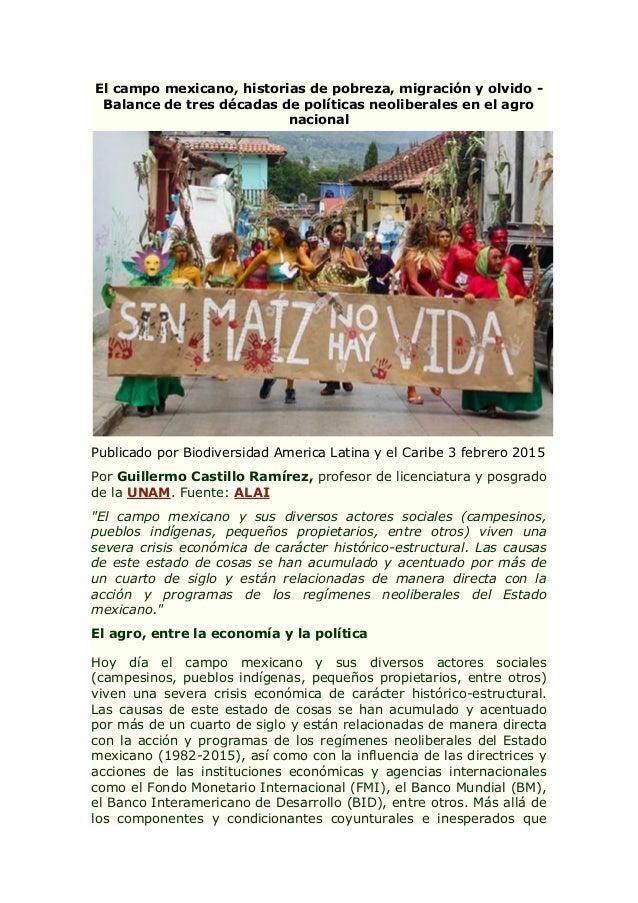 El campo mexicano, historias de pobreza, migración y olvido - Balance de tres décadas de políticas neoliberales en el agro...