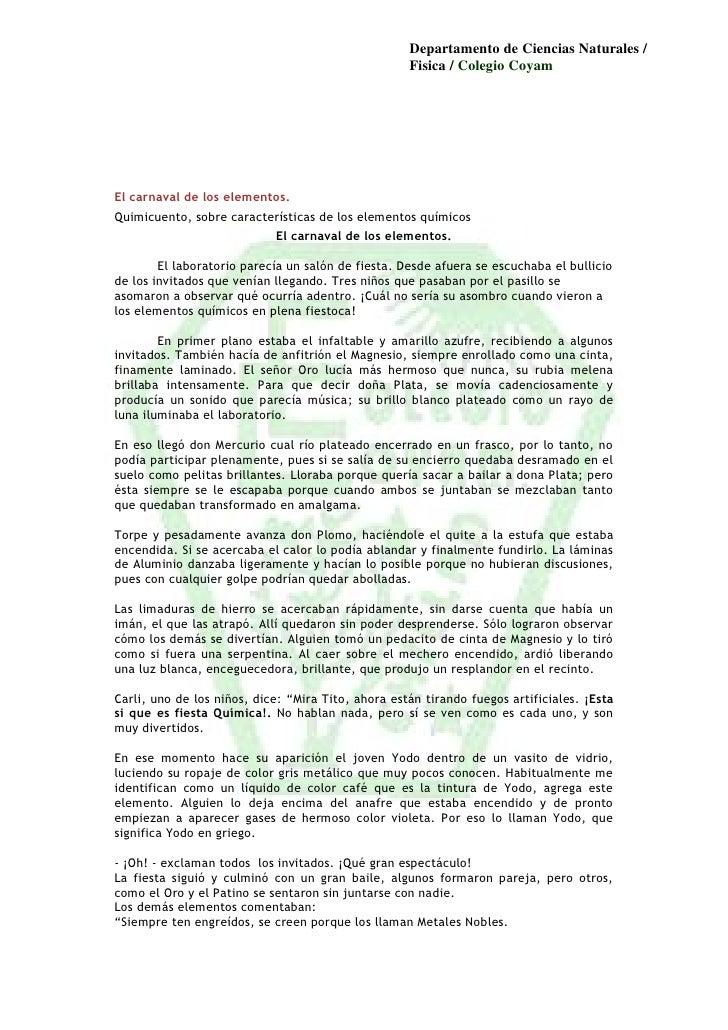 Departamento de Ciencias Naturales /                                                    Fisica / Colegio CoyamEl carnaval ...
