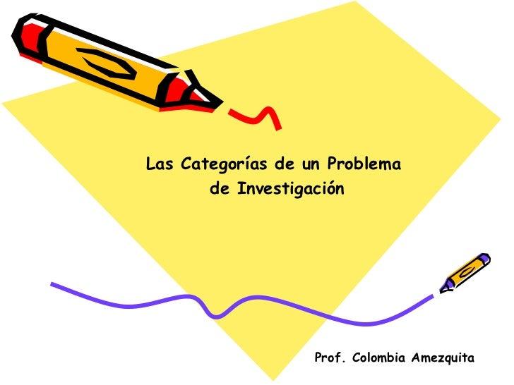 Prof. Colombia Amezquita Las Categorías de un Problema de Investigación