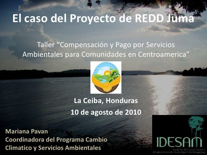 """El caso del Proyecto de REDD Juma        Taller """"Compensación y Pago por Servicios     Ambientales para Comunidades en Cen..."""
