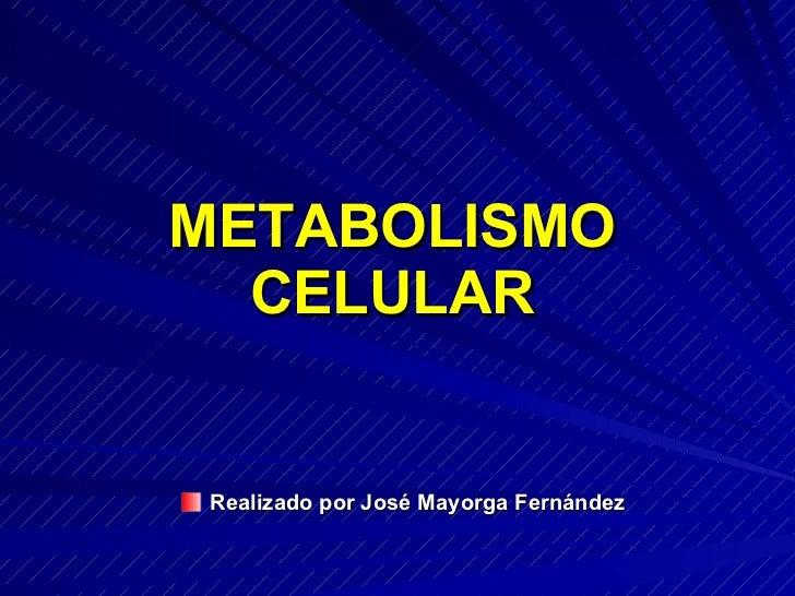 METABOLISMO   CELULAR    Realizado por José Mayorga Fernández