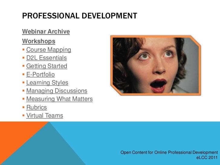 eLCC2011 Open Content for Professional Development Slide 3