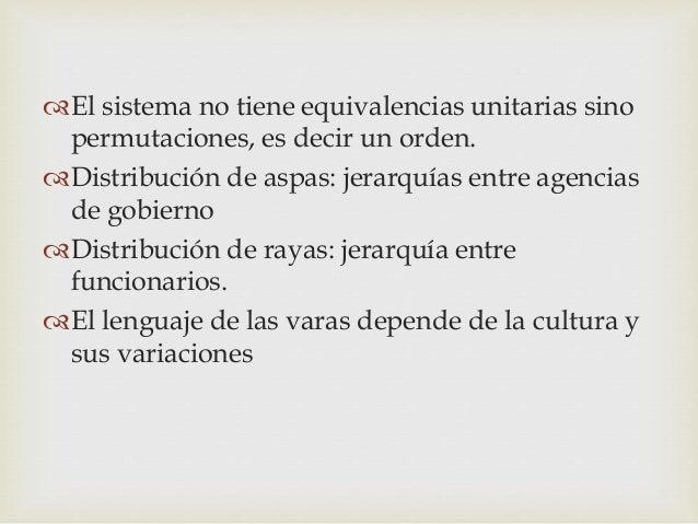 El sistema no tiene equivalencias unitarias sino permutaciones, es decir un orden. Distribución de aspas: jerarquías ent...