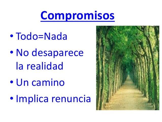 Compromisos • Todo=Nada • No desaparece la realidad • Un camino • Implica renuncia