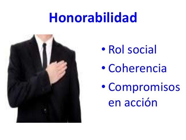 Honorabilidad • Rol social • Coherencia • Compromisos en acción