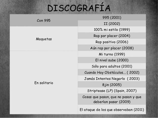 DISCOGRAFÍA                            995 (2001) Con 995                             II (2002)                       100%...